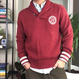 Tommy Hilfiger Red Shawl Collar Pullover Sweater